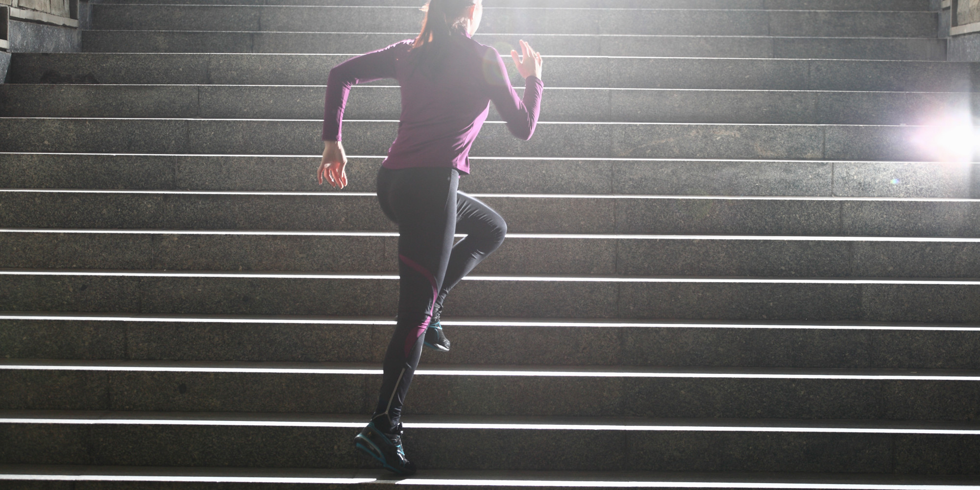 Women running on stairs